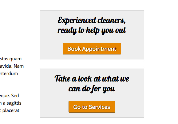 House Cleaning WordPress Theme - Visible call-to-actions