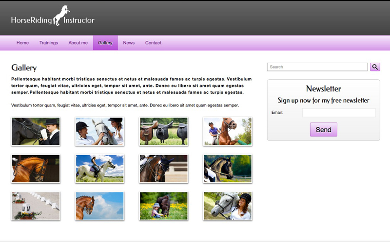 Horse Riding Instructor WordPress Theme - Integrated image gallery