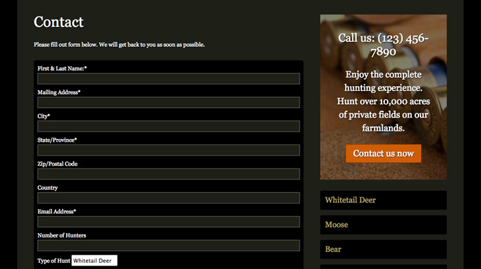 Hunting Outfitters WordPress Theme - Clear contact info