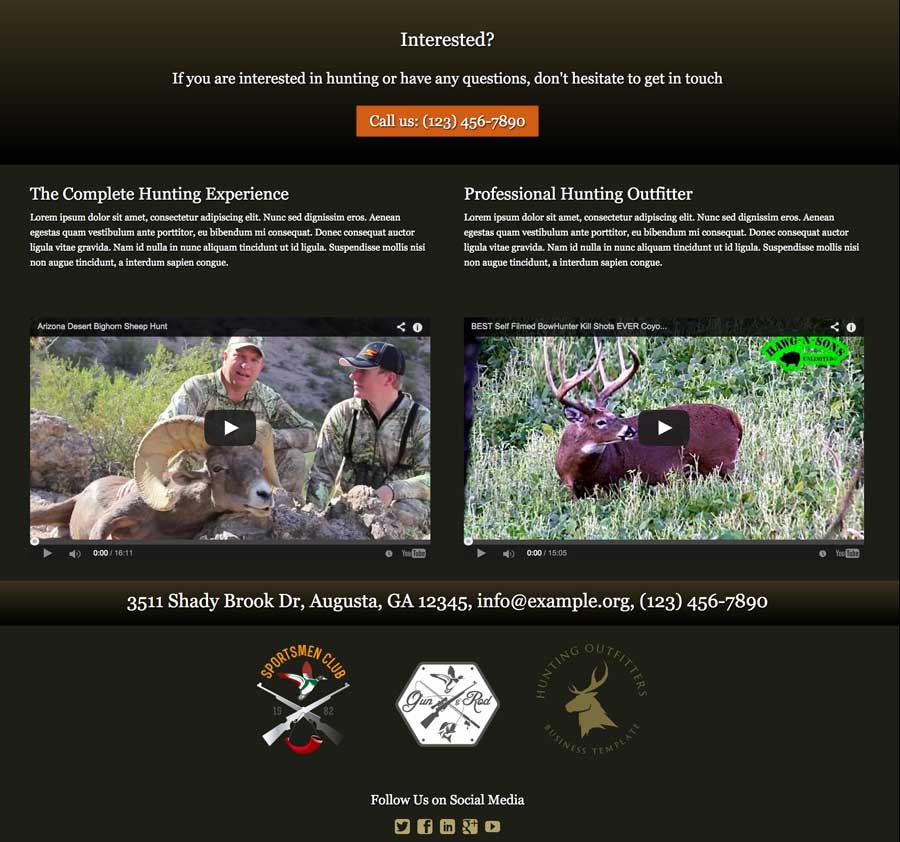Hunting Outfitters WordPress Theme - Superb design
