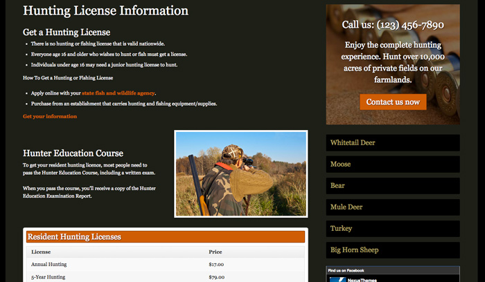 Hunting Outfitters WordPress Theme - Hunting license information