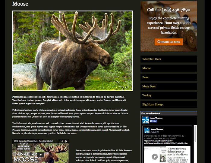 Hunting Outfitters WordPress Theme - Appealing service pages