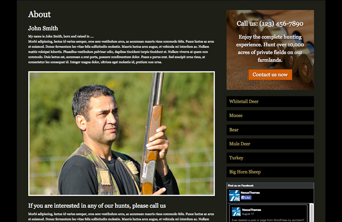Hunting Outfitters WordPress Theme - Introduce yourself