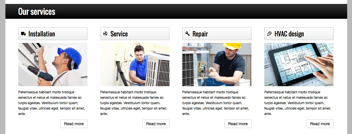 Hvac WordPress Theme - Clean service overview