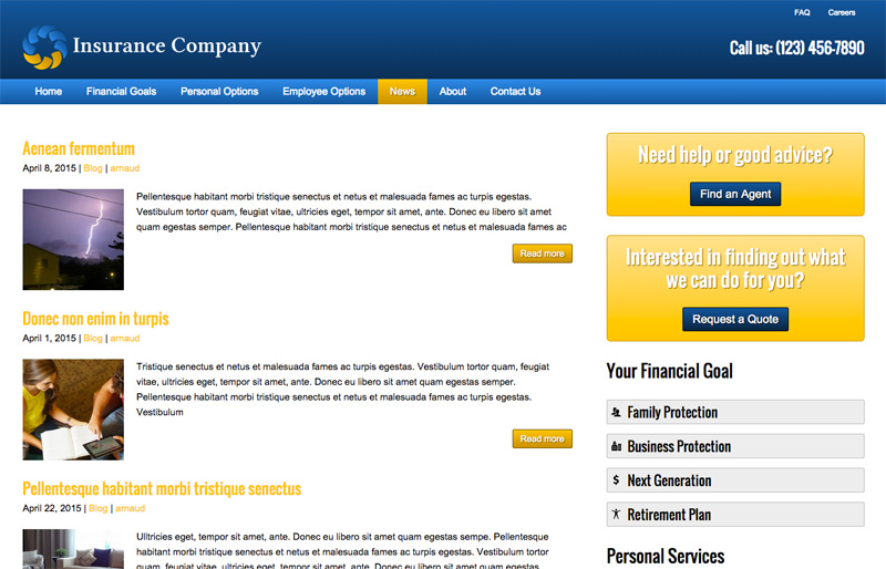 Insurance Company WordPress Theme - News Section Included