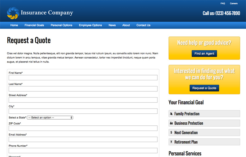 Insurance Company WordPress Theme - Free quote form