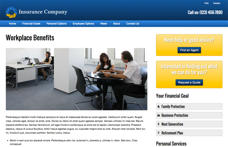Insurance Company WordPress Theme - Informative service pages