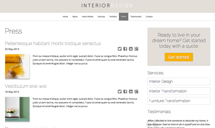 Interior design wordpress theme website template for interior decorators for Interior design wordpress theme