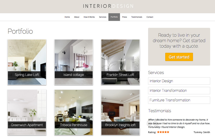 Interior Design WordPress Theme   Project Overview