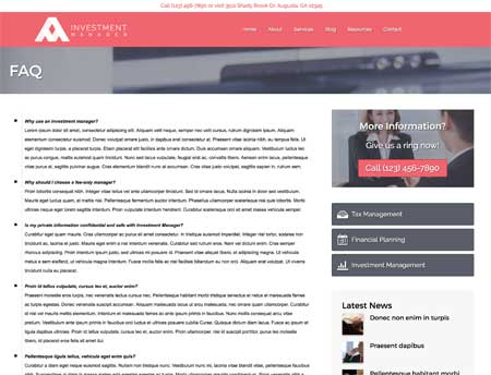 Investment Manager WordPress Theme - FAQ section