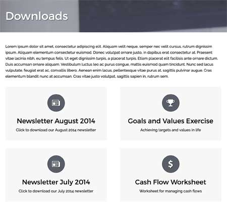 Investment Manager WordPress Theme - Link to printable PDF's