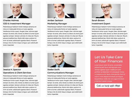 Investment Manager WordPress Theme - Staff directory