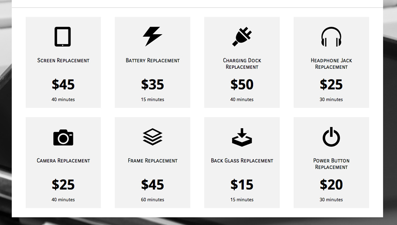IPhone Repair WordPress Theme - Easily include your rates