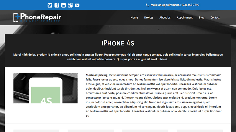 IPhone Repair WordPress Theme - Strong service pages