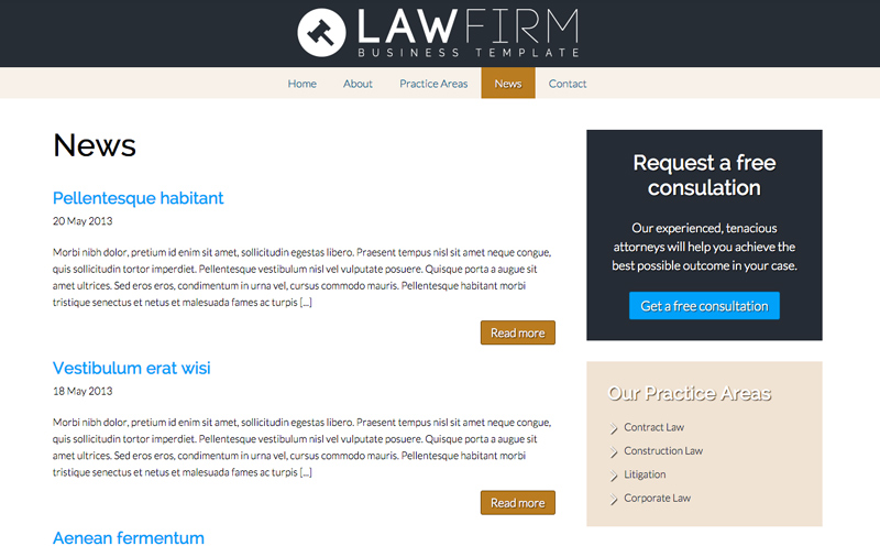 Lawyer WordPress Theme - News section