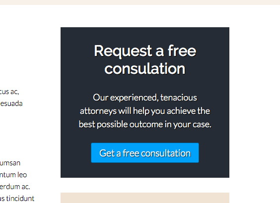 Lawyer WordPress Theme - Eye-catching call-to-actions