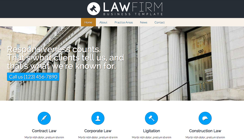 Lawyer WordPress Theme - Homepage photo slider