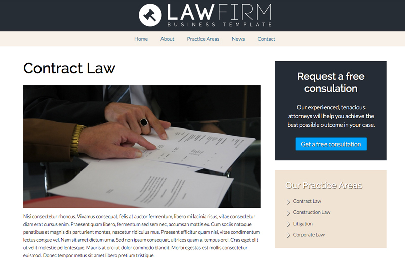 Lawyer WordPress Theme - Detail pages for services