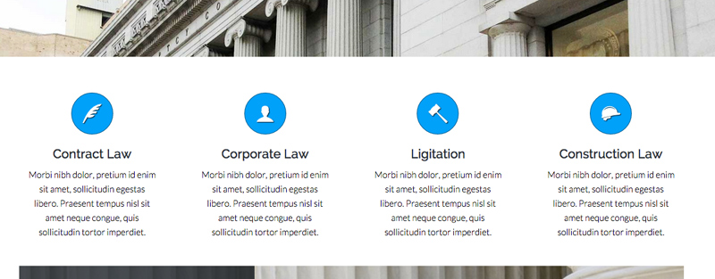 Lawyer WordPress Theme - Services feature
