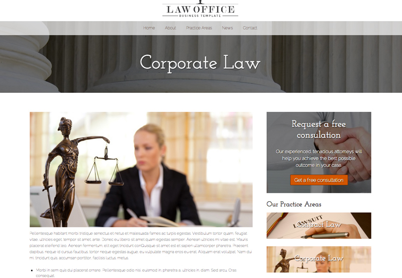 Law Office WordPress Theme - Informative service pages