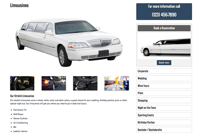 Limousine WordPress Theme - Detailed service pages