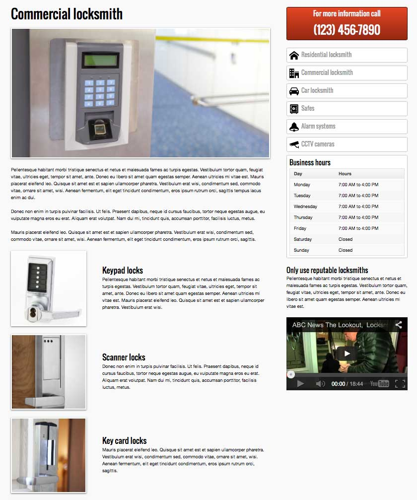 Locksmith WordPress Theme - Service details