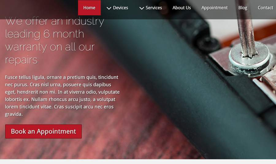 Mobile Repair WordPress Theme - Powerful call-to-actions