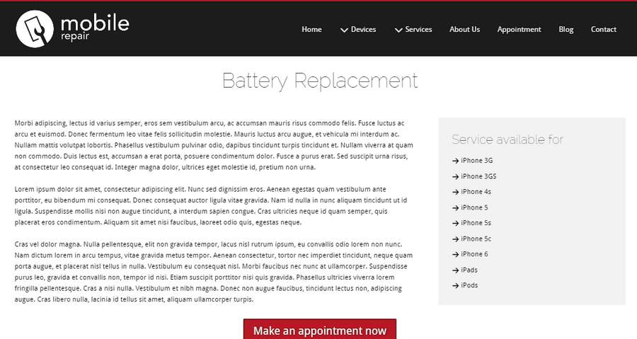 Mobile Repair WordPress Theme - Appealing service pages