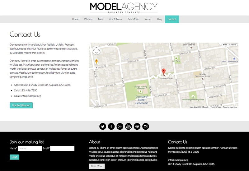 Model Agency WordPress Theme - Contact page with route planner