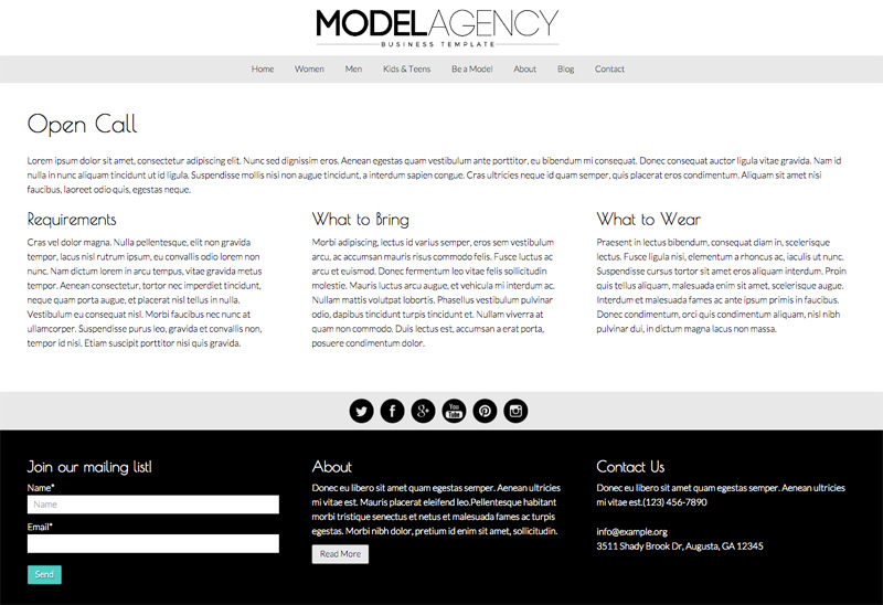 Model Agency WordPress Theme - Open Call page