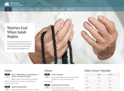 Mosque WordPress Theme - Bold, professional design