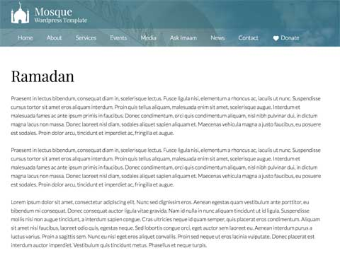 Mosque WordPress Theme - Solid detail pages