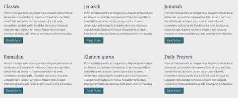 Mosque WordPress Theme - Clean service overview