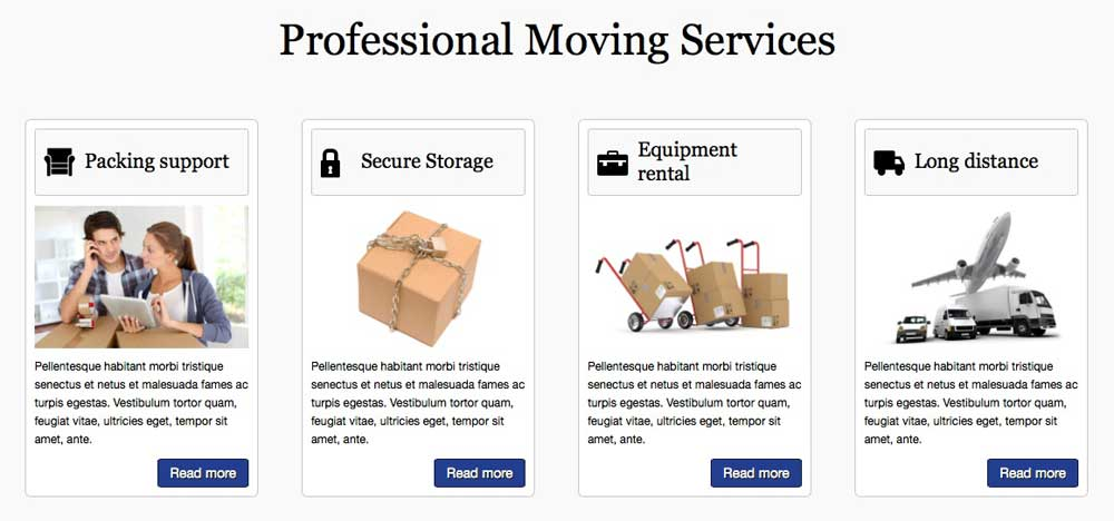 Moving Company WordPress Theme - Highlighted services