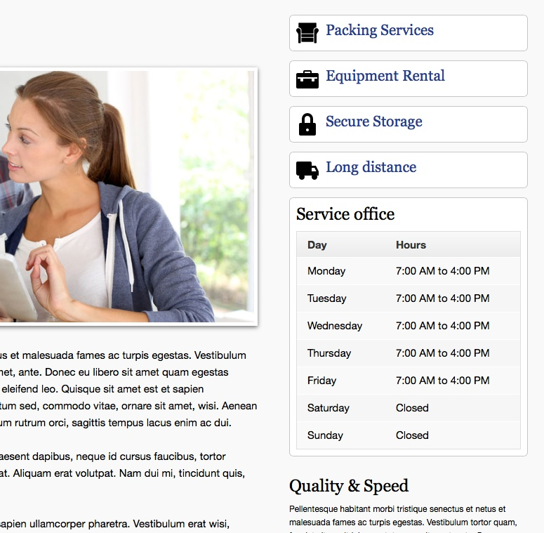 Moving Company WordPress Theme - Overview of services