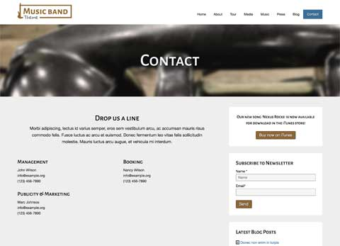 Music Band WordPress Theme - Contact options