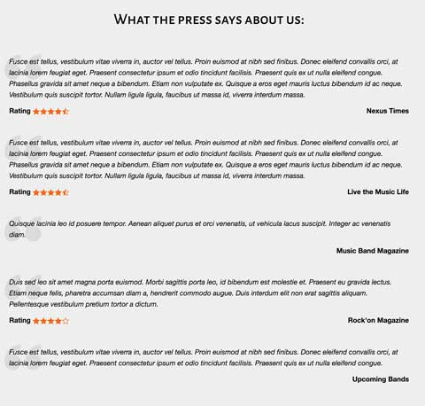 Music Band WordPress Theme - Testimonials