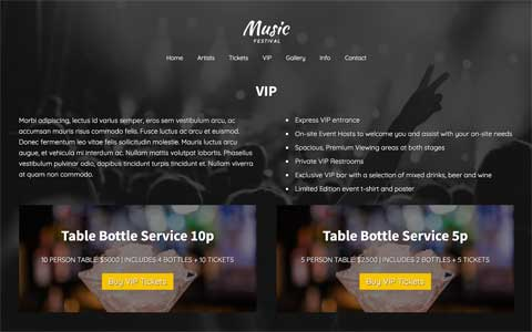Music Festival WordPress Theme - Individual service pages