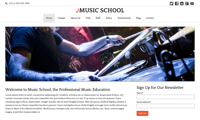 Music School WordPress Theme - Classic photo slider