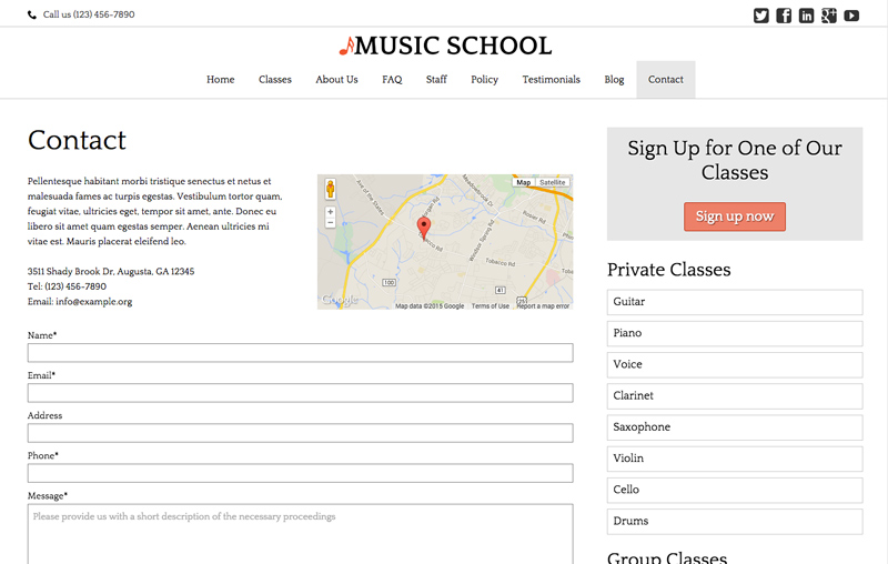Music School WordPress Theme - Meet your prospects
