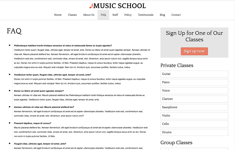 Music School WordPress Theme - FAQ section