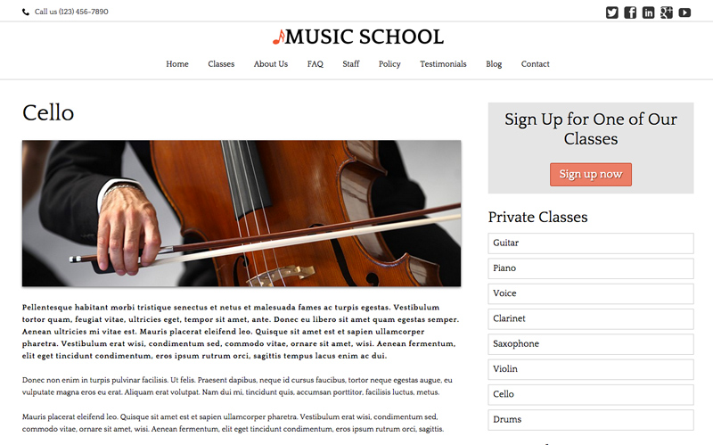 Music School WordPress Theme - Solid detail pages