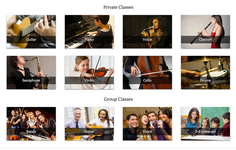 Music School WordPress Theme - Overview of services
