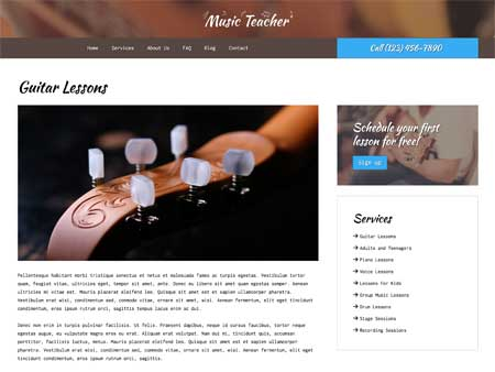 Music Teacher WordPress Theme - Rock solid detail pages