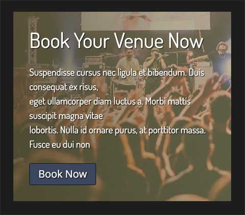 Music Venue WordPress Theme - Convincing call-to-actions