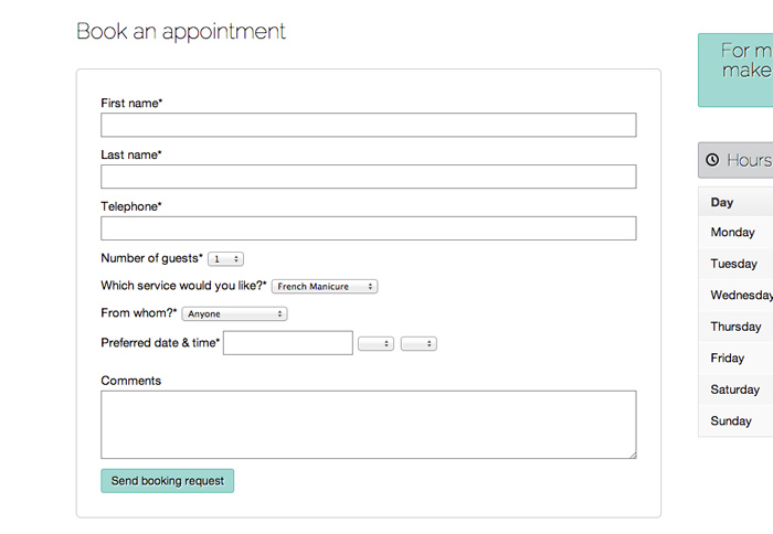 Nail Salon WordPress Theme - Appointment form