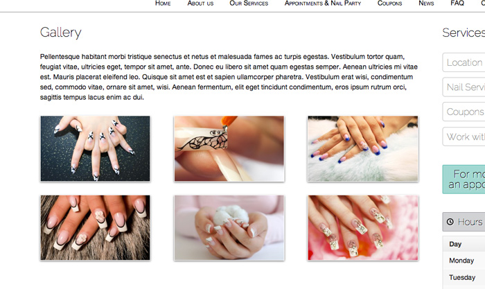 Nail Salon WordPress Theme - Stunning photo gallery