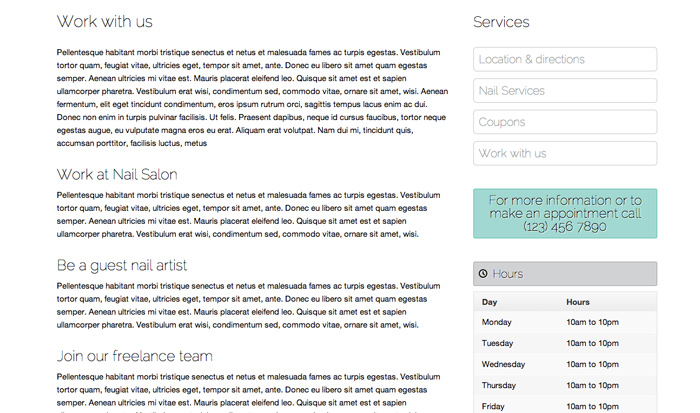 Nail Salon WordPress Theme - Advertise staff vacancies