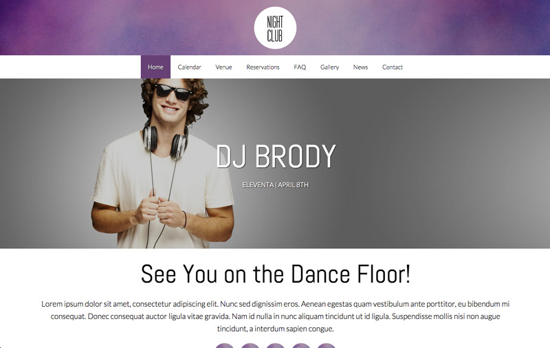 Nightclub WordPress Theme - Classic photo slider