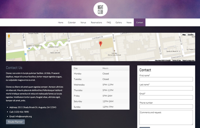 Nightclub WordPress Theme - Contact page with route planner